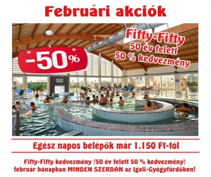 FIFTY-FIFTY Akció Februárban 50 év felett 50 % kedvezmény